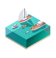 ships isometric composition vector image