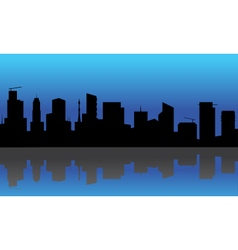Silhouette of buildings at the night vector image