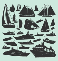silhouettes boats vector image