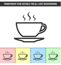 simple outline transparent cup icon on different vector image
