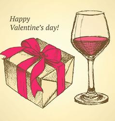 Sketch valentines set in vintage style vector image