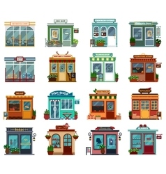 Stores and shops street view collection vector
