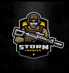storm trooper mascot logo design on a dark vector image