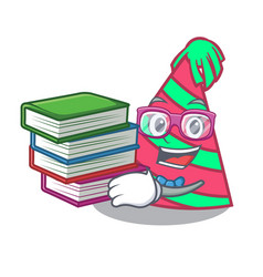Student with book party hat mascot cartoon vector