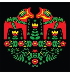 Swedish Dala or Daleclarian horse floral folk art vector