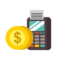 terminal confirms coin money nfc payment vector image