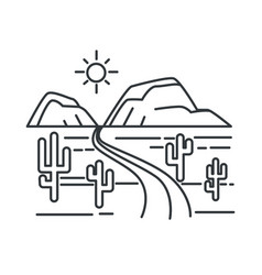 texas landscape outline sketch desert road or vector image