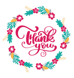 thank you hand drawn text with wreath of flowers vector image