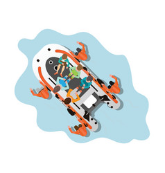 top view rescue team helping people isolated vector image