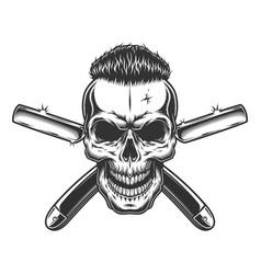 Vintage monochrome barber skull vector