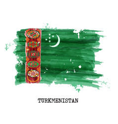 watercolor painting flag of turkmenistan vector image