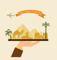 welcome to egypt attractions of egypt on a tray vector image