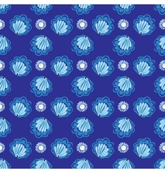 White flowers on blue background seamless pattern vector image