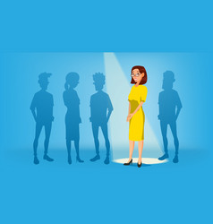 woman stand out from the crowd job and vector image