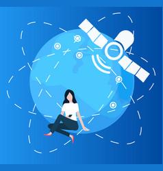 Woman using smarphone globe and satellite set vector