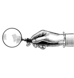 womans hand with an old magnifying glass vector image