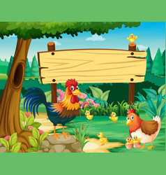 Wooden sign and chickens in park vector