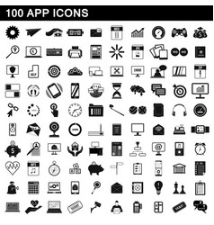 100 app icons set simple style vector image