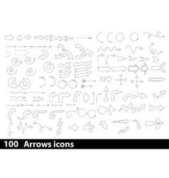 100 hand-drawn arrows icons vector image vector image