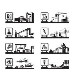 Different industries with logos vector image vector image
