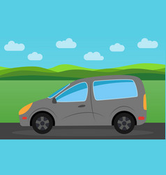 gray car in the background of nature landscape vector image