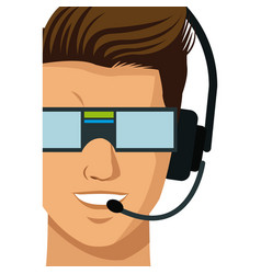 man wearing a virtual reality goggles headset vector image
