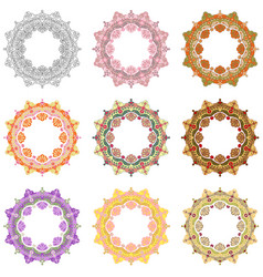 set mandala different color 45 vector image vector image