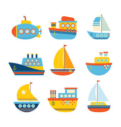 set of sea transport different kind of boats vector image