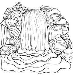 waterfall coloring page for children and adults vector image