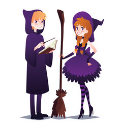 wizard boy with book and magic stick witch girl vector image