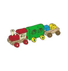 wooden train set vector image