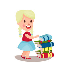 cute blonde girl standing next to a pile of books vector image vector image