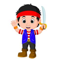 kid boy pirate cartoon vector image