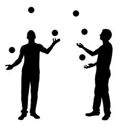 silhouettes of men juggling balls vector image