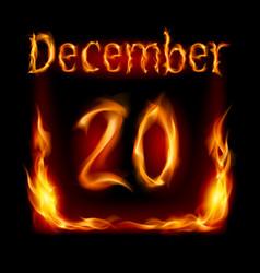 twentieth december in calendar of fire icon on vector image vector image