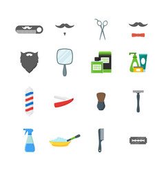 cartoon barbershop shop symbol color icons set vector image vector image