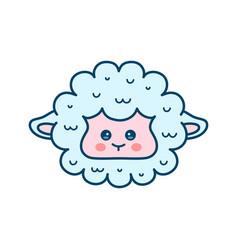 cute sheep lamb face modern line vector image