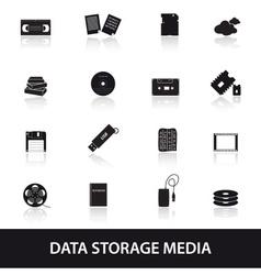 data storage media icons eps10 vector image