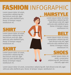 Girl in autumn suit fashion infographic vector