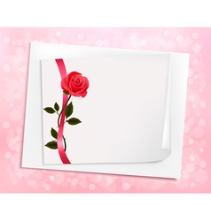 Holiday background with sheet of paper and a rose vector image vector image