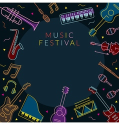 Music Instruments Objects Frame Line Design vector image