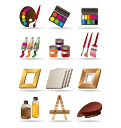 Painting materials and tools for artists vector image