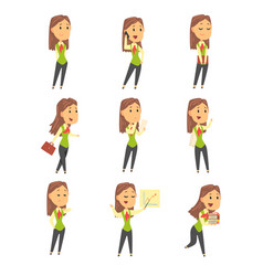 Set of cute businesswoman characters in different vector