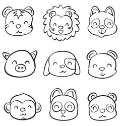 Hand draw of animal head style vector