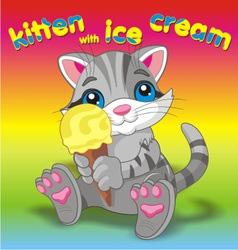 Kitten with ice cream grey vector