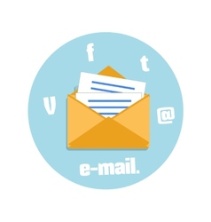 Open envelope with e-mail sign con vector image