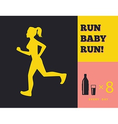 Silhouette of a running girl vector image vector image