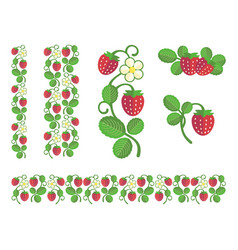 strawberry flat colors set vector image vector image