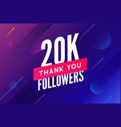 20000 followers greeting social card thank vector