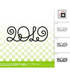 2019 year numeric simple black line icon vector image